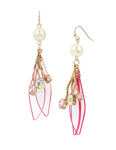 Betsey Johnson Buzz Off Pearl, Mixed Stone and Lucite Petal Drop Earrings-MULTI-One Size