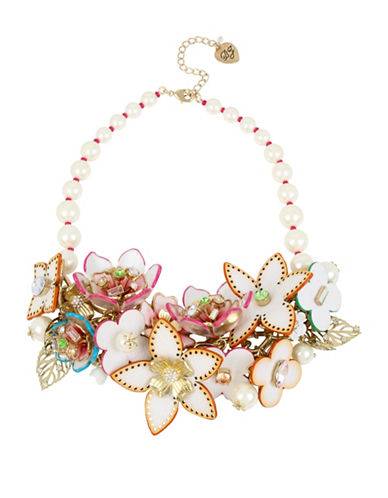 Betsey Johnson Flat Out Floral Faux Pearl Statement Bib Necklace-ASSORTED-One Size