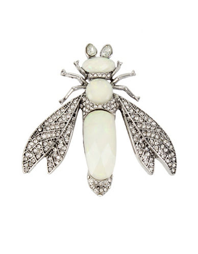 Betsey Johnson Pave Crystals, Opal Stones Fly Pin-WHITE-One Size