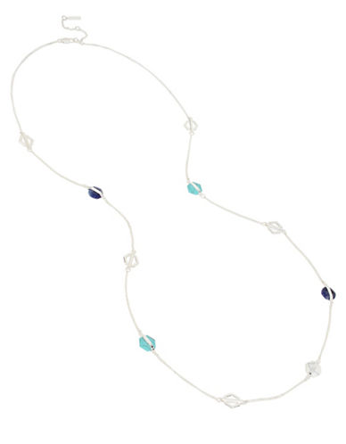 Kenneth Cole New York Hexed Semi-Precious Station Necklace-BLUE-One Size
