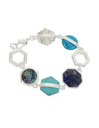 Kenneth Cole New York Hexed Semi-Silvertone Bracelet-BLUE-One Size