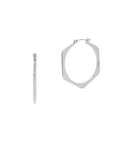 Kenneth Cole New York Hexed Geometric Hoop Earrings-SILVER-One Size