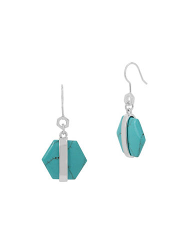 Kenneth Cole New York Turquoise Geometric Drop Earrings-BLUE-One Size