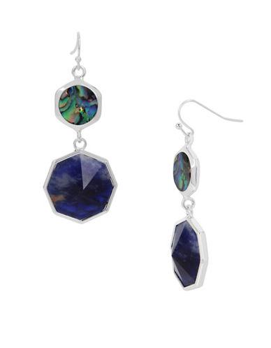 Kenneth Cole New York Semiprecious Geometric Double Drop Earrings-BLUE-One Size