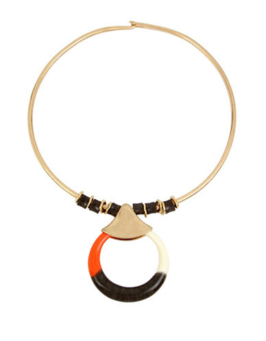 Robert Lee Morris Soho Primal Connection Colourblock Circle Pendant Wire Collar Necklace-ORANGE-One Size