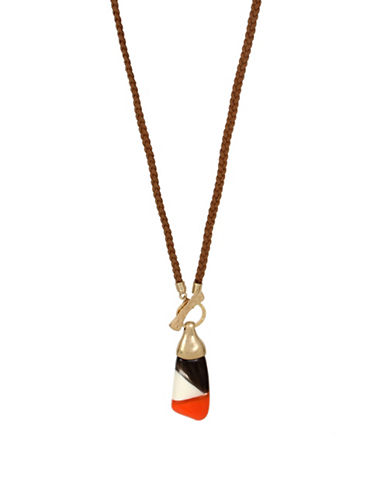 Robert Lee Morris Soho Primal Connection Colourblock Pendant Braided Necklace-ORANGE-One Size
