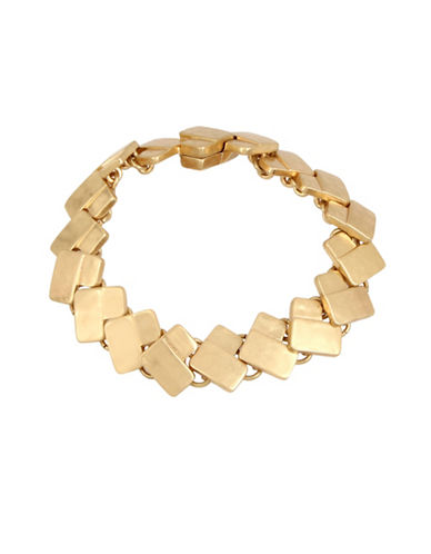 Robert Lee Morris Soho Primal Connection Geometric Rectangle Link Bracelet-GOLD-One Size