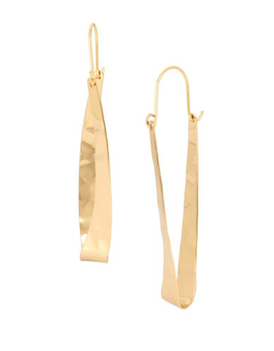 Robert Lee Morris Soho Primal Connection Goldplated Hammered Sculptural Oval Hoop Earrings-GOLD-One Size
