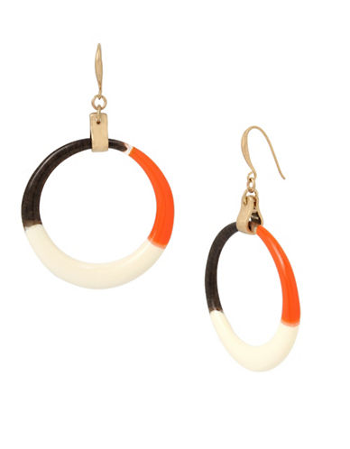 Robert Lee Morris Soho Primal Connection Colourblock Hoop Earrings-ORANGE-One Size