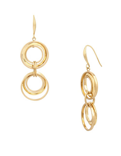 Robert Lee Morris Soho Primal Connection Goldplated Circle Double Drop Earrings-GOLD-One Size