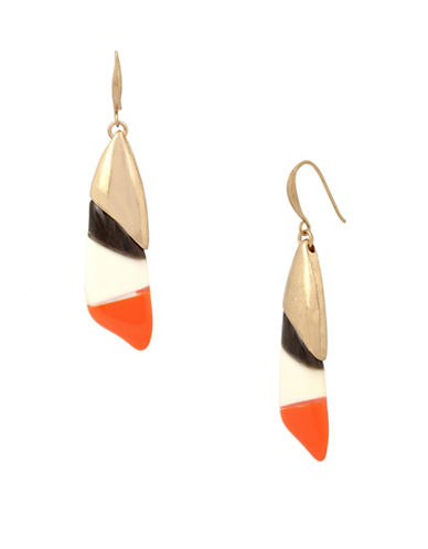 Robert Lee Morris Soho Primal Connection Colourblock Drop Earrings-ORANGE-One Size