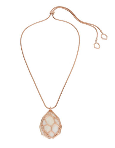 Kenneth Cole New York Under Construction Mother-of-Pearl Caged Pendant Necklace-WHITE-One Size
