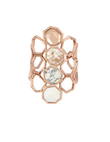 Kenneth Cole New York Under Construction Mixed Semi-Precious Stone Geometric Cuff Bracelet-ROSE GOLD-One Size