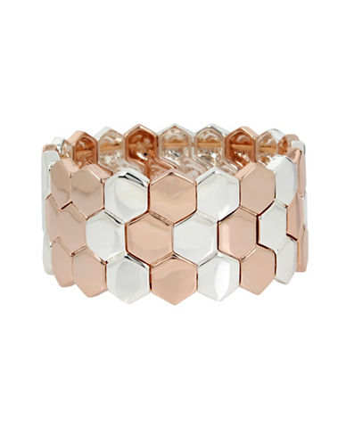 Kenneth Cole New York Under Construction Two-Tone Geometric Stretch Bracelet-TWO TONE-One Size