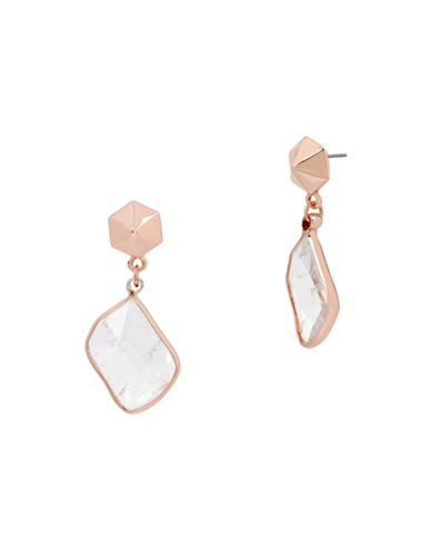 Kenneth Cole New York Under Construction Stud and Crackled Stone Drop Earrings-ROSE GOLD-One Size