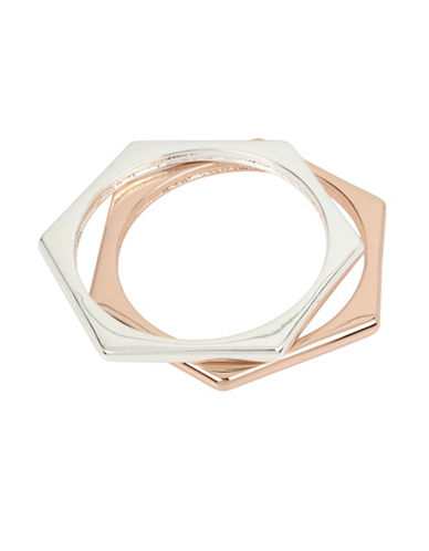 Kenneth Cole New York Under Construction Two-Tone Geometric Bangle Bracelet Set-ASSORTED-One Size