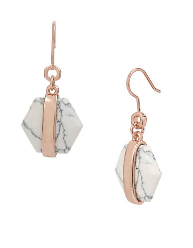Kenneth Cole New York Semi-Precious Howlite Rose Goldtone Geometric Drop Earrings-WHITE-One Size
