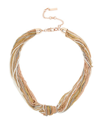 Kenneth Cole New York Under Construction Mixed Multi-Row Knotted Collar Necklace-TRI TONE-One Size