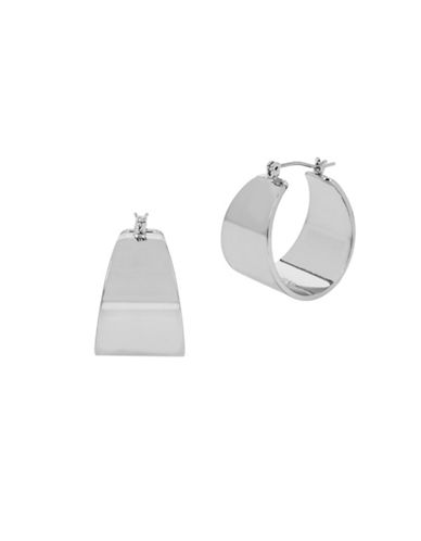 Kenneth Cole New York Under Construction Wide Scoop Hoop Earrings-SILVER-One Size