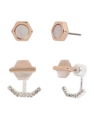 Kenneth Cole New York Delicate Geometric Shell Stud and Earring Jacket Duo-ASSORTED-One Size