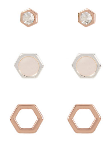 Kenneth Cole New York Delicate Geometric Shell Stud Earring Trio-ASSORTED-One Size