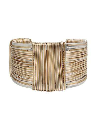Robert Lee Morris Soho Wired Warrior Two-Tone Wire Wrapped Sculptural Cuff Bracelet-TWO TONE-One Size