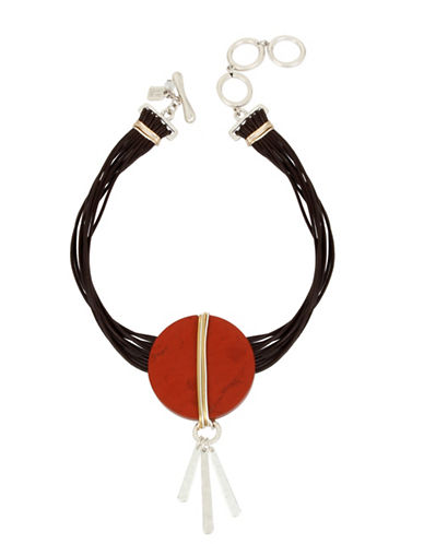 Robert Lee Morris Soho Wired Warrior Silverplated Semi-Precious Jasper Stone Leather Choker Necklace-RED-One Size