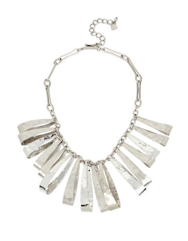 Robert Lee Morris Soho Wired Warrior Silverplated Hammered Texture Sculptural Oval Bib Necklace-SILVER-One Size