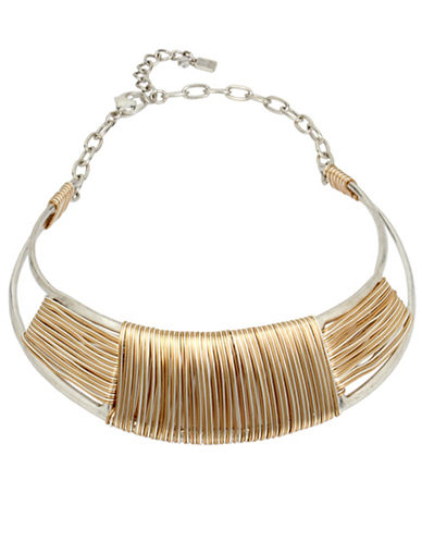 Robert Lee Morris Soho Wired Warrior Wire Wrapped Sculptural Collar Necklace-TWO TONE-One Size