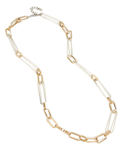 Robert Lee Morris Soho Wired Warrior Oval Link Long Necklace-TWO TONE-One Size
