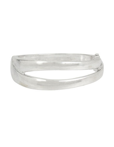 Robert Lee Morris Soho Wired Warrior Sculptural Cut-Out Hinged Bangle Bracelet-SILVER-One Size