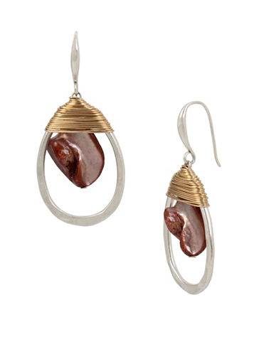 Robert Lee Morris Soho Wired Warrior Mother of Pearl Oval Orbital Earrings-RED-One Size