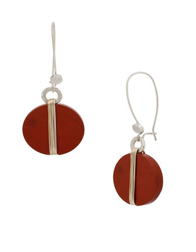 Robert Lee Morris Soho Wired Warrior Semi-Precious Red Jasper Long Drop Earrings-RED-One Size