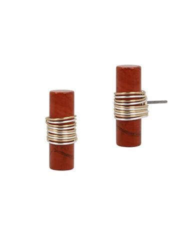 Robert Lee Morris Soho Wired Warrior Semi-Precious Red Jasper Stone Stud Earrings-RED-One Size