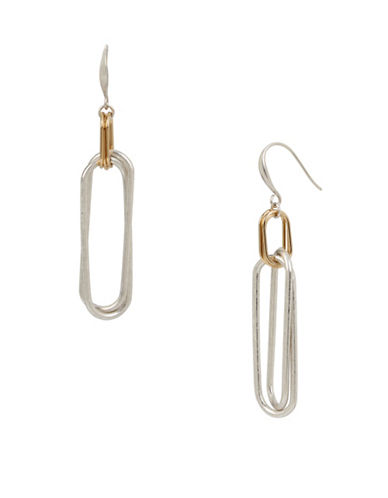 Robert Lee Morris Soho Oval Link Double Drop Earrings-TWO TONE-One Size