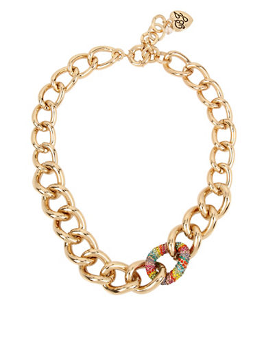 Betsey Johnson Rainbow Pave Chain Necklace-MULTI-One Size