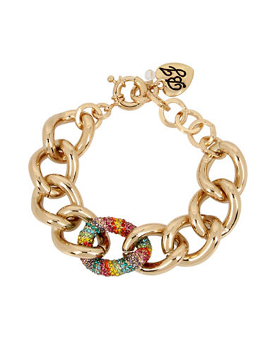 Betsey Johnson Rainbow Pave Chain Bracelet-MULTI-One Size