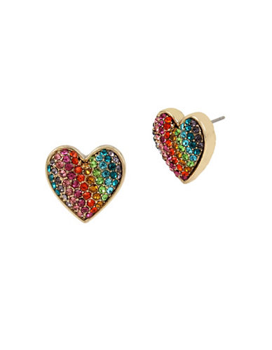 Betsey Johnson Rainbow Heart Stud Earrings-MULTI-One Size