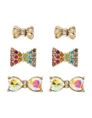 Betsey Johnson Bow Stud Earring Set-ASSORTED-One Size