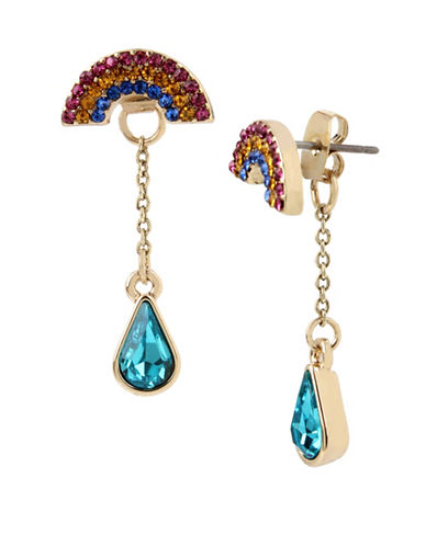 Betsey Johnson Pave Rainbow Jacket Earrings-MULTI-One Size