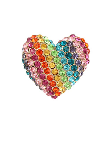 Betsey Johnson Rainbow Heart Stretch Ring-MULTI-7.5