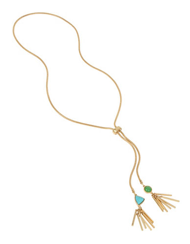 Kenneth Cole New York Rough Luxe Semi-Precious Reconstituted Turquoise Goldtone Fringed Necklace-MUTLI-One Size