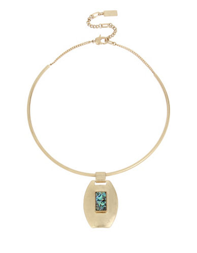 Kenneth Cole New York Abalone Stone Geometric Pendant Wire Collar Necklace-GOLD-One Size