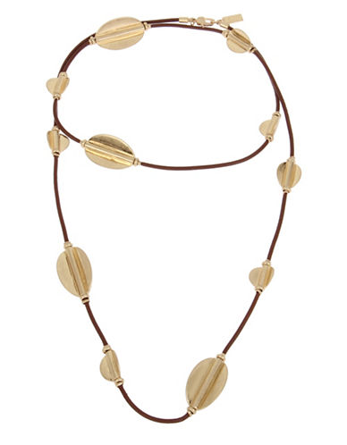 Kenneth Cole New York Leather Station Necklace-GOLD-One Size
