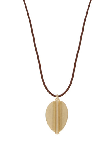 Kenneth Cole New York Leather Pendant Necklace-GOLD-One Size