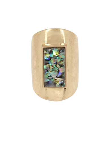 Kenneth Cole New York Geometric Abalone Ring-GOLD-7.5