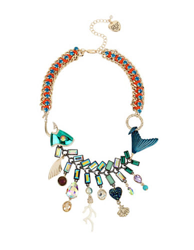 Betsey Johnson Mixed Charm Fish Frontal Necklace-MULTI-One Size