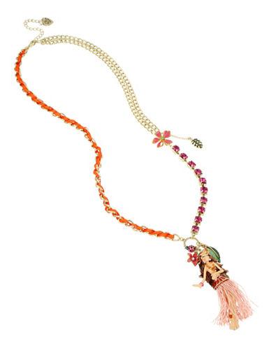 Betsey Johnson Hula Girl Pendant Necklace-MULTI-One Size
