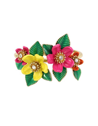 Betsey Johnson Tropical Flower Bangle-MULTI-One Size