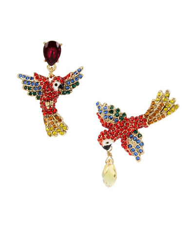 Betsey Johnson Pave Parrot Mismatch Drop Earrings-MULTI-One Size